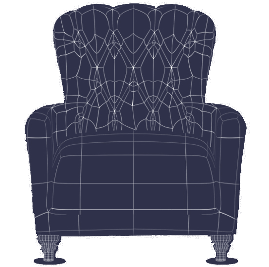 Wireframe for a 3d rendering of a chair