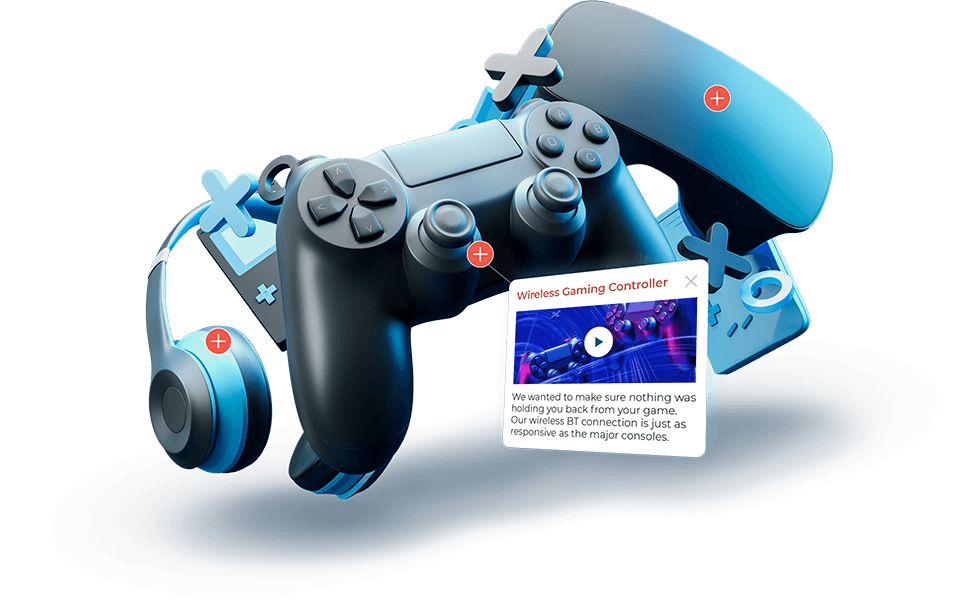 3d rendering of video game controllers