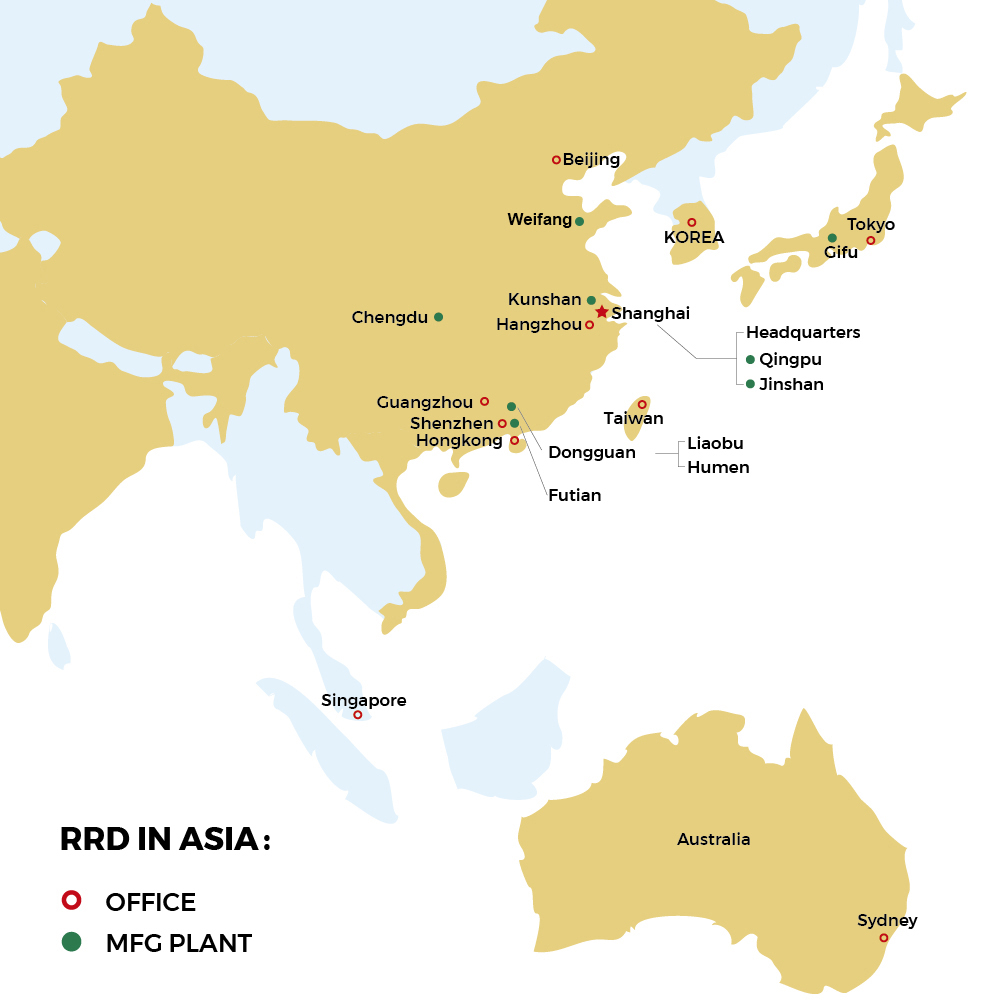 map of RRD offices and MFG plants in Asia