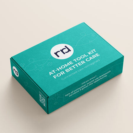 a closed teal box with the words at home tool-kit for better care written on it