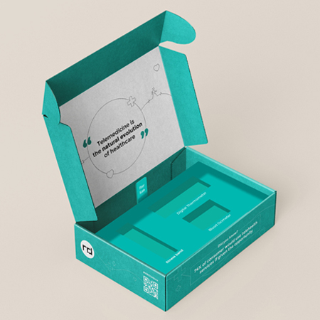 an open teal box with the words telemedicine in the natural evolution of healthcare written inside the lid