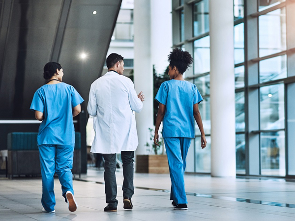 medical staff members having a conversation in a hospital