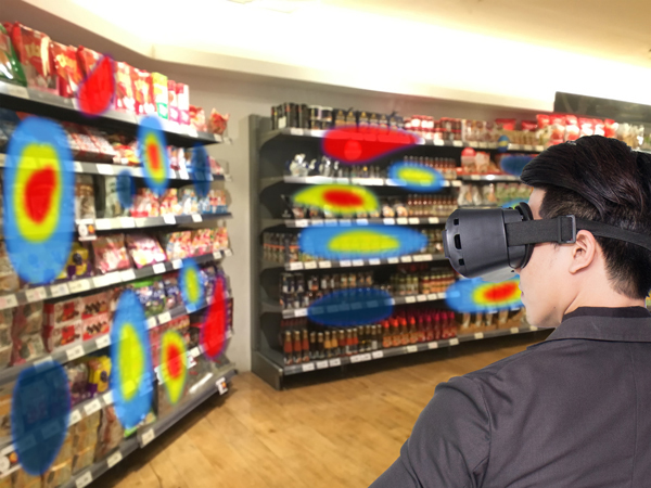 man wearing eye-tracking glasses at grocery store