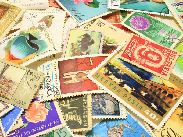 collection of international stamps for international mail and parcel