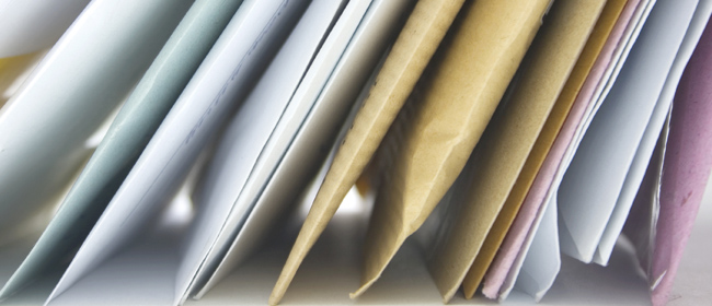 edges of envelopes laying in a group
